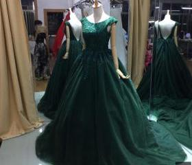 A-line Green Prom Dr..