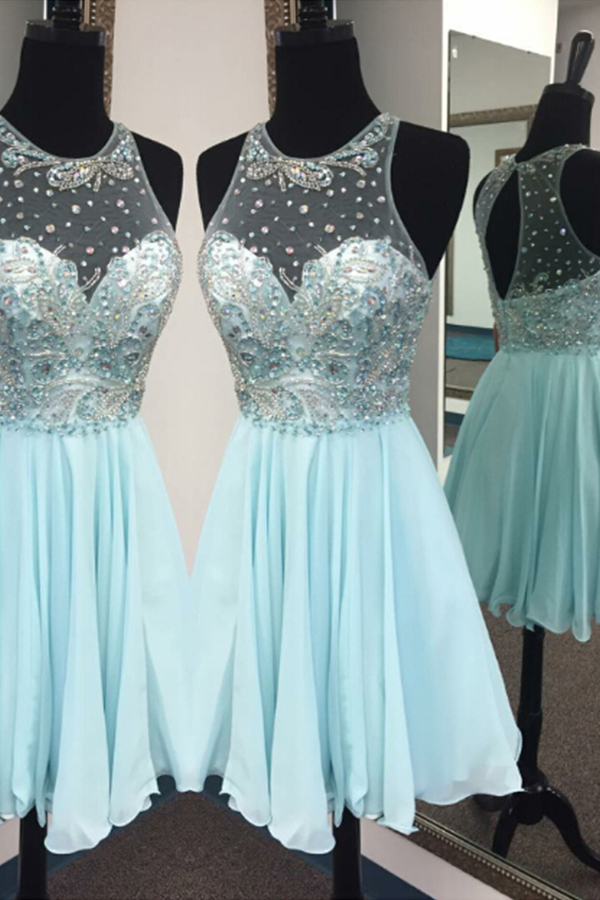 Elegant Homecoming Dresses,A-line Homecoming Dresses,Beaded Homecoming Dresses,Backless Homecoming Dresses,Short Prom Dresses,Party Dresses