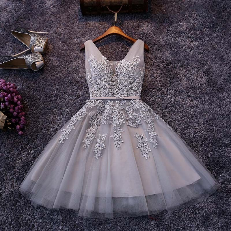 Elegant Homecoming Dresses,A-line Homecoming Dresses,Applique Homecoming Dresses,Grey Homecoming Dresses,Bandage Homecoming Dresses,Short Prom Dresses,Party Dresses