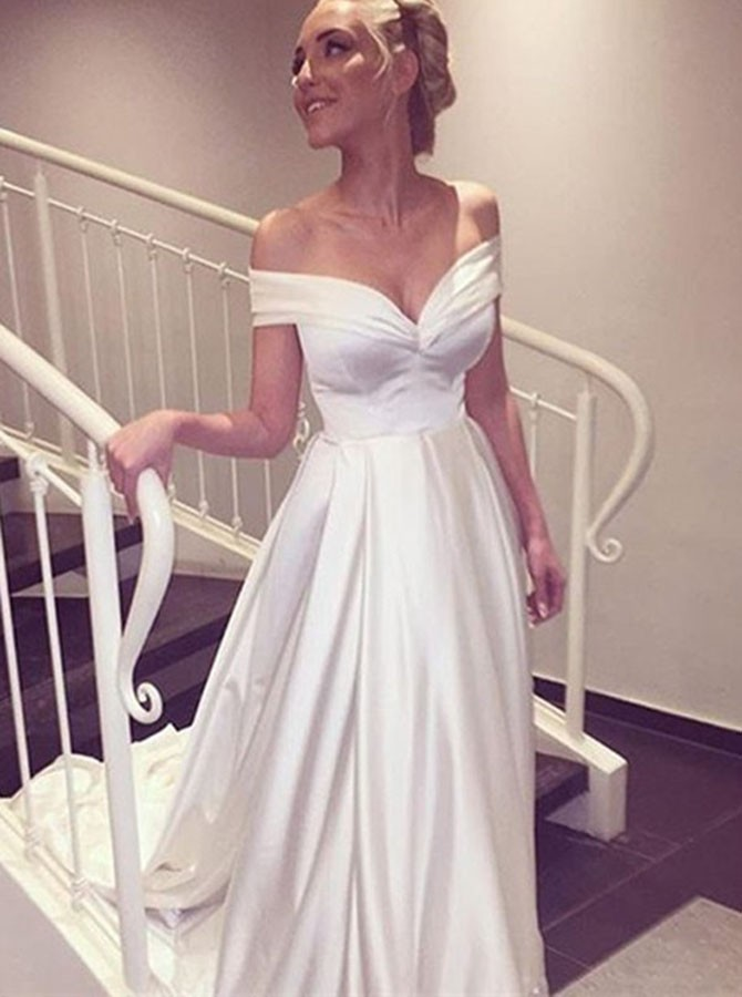 White Off the Shoulder Wedding Dresses