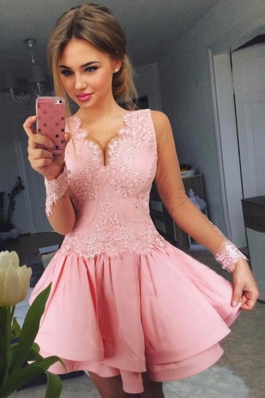 Long Sleeves Homecoming Dresses,A-line Homecoming Dresses,Pink Homecoming Dresses,Applique Homecoming Dresses,Short Prom Dresses,Party Dresses
