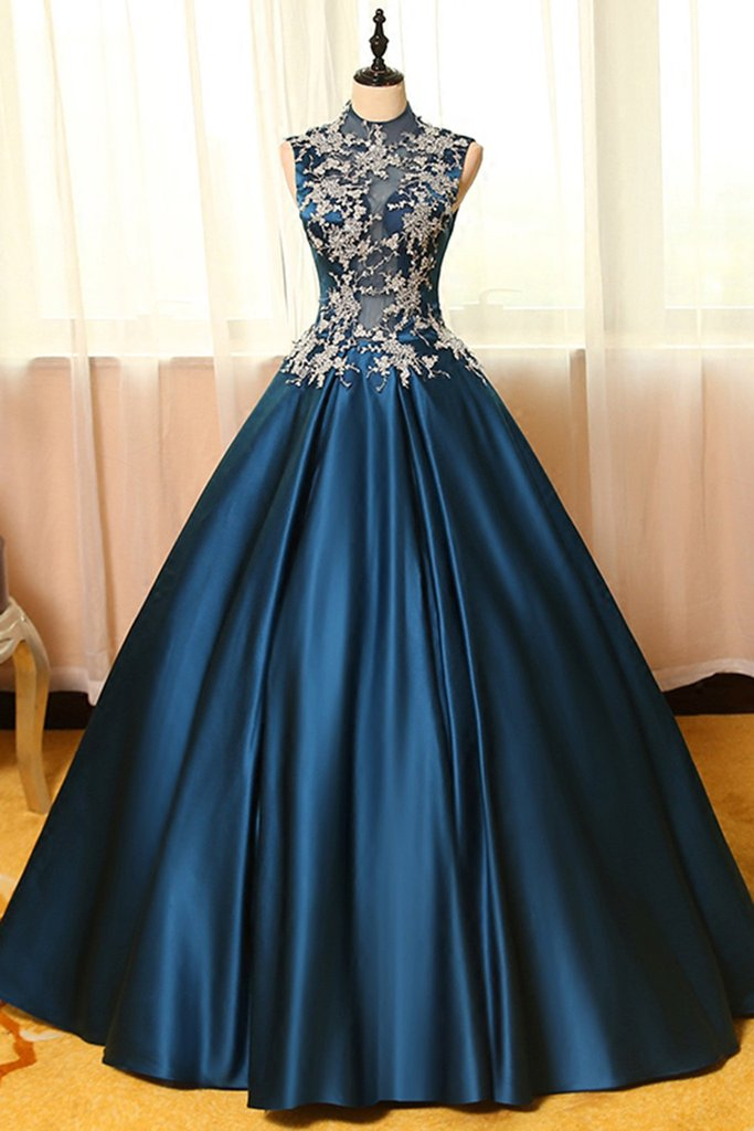 Vintage Ball Gown Prom Dresses,Blue Prom Dresses,High Neck Prom ...
