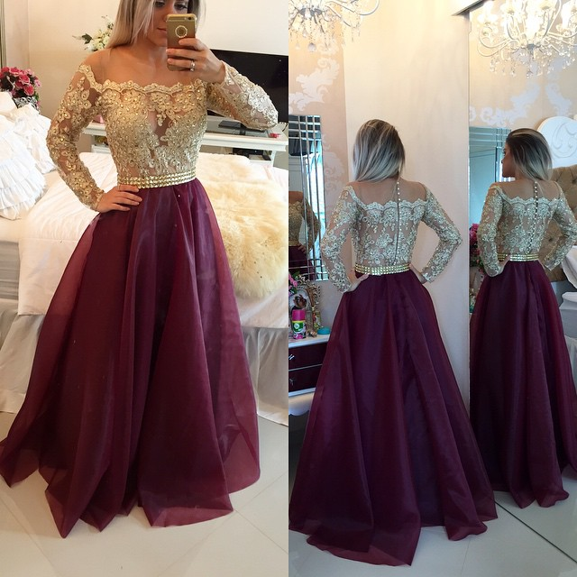 Elegant Off Shoulder Prom Dresses,A-line Prom Dresses,Long Burgundy ...