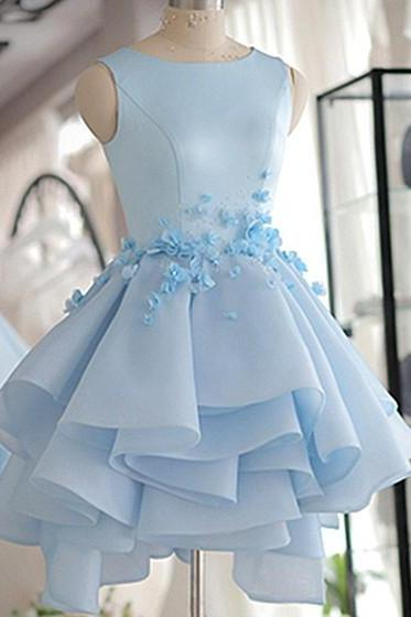 Lovely Homecoming Dresses,A-line Homecoming Dresses,Sky Blue Homecoming Dresses,Hand Flowers Homecoming Dresses,Short Prom Dresses,Party Dresses