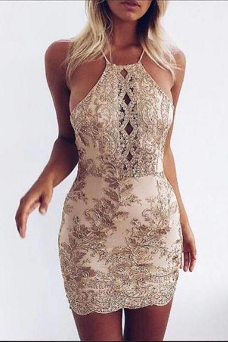 Sexy Homecoming Dresses,Halter Homecoming Dresses,Applique Homecoming Dresses,Backless Homecoming Dresses,Short Prom Dresses,Party Dresses