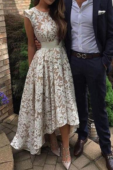 High-low Homecoming Dresses,A-line Homecoming Dresses,Lace Applique Homecoming Dresses,Champagne Homecoming Dresses,Prom Dresses,Party Dresses