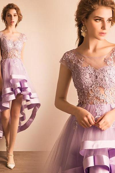 High-low Homecoming Dresses,A-line Homecoming Dresses,Lace Applique Homecoming Dresses,Light Purple Homecoming Dresses,Prom Dresses,Party Dresses