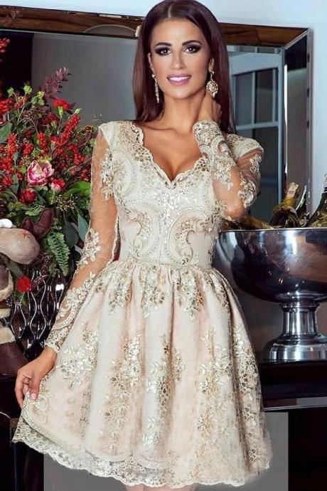 Long Sleeves Homecoming Dresses,A-line Homecoming Dresses,Champagne Homecoming Dresses,Applique Homecoming Dresses,Short Prom Dresses,Party Dresses