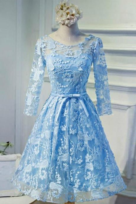 A-line Homecoming Dresses,Blue Homecoming Dresses,Lace Homecoming Dresses,Backless Homecoming Dresses,Short Prom Dresses,Party Dresses