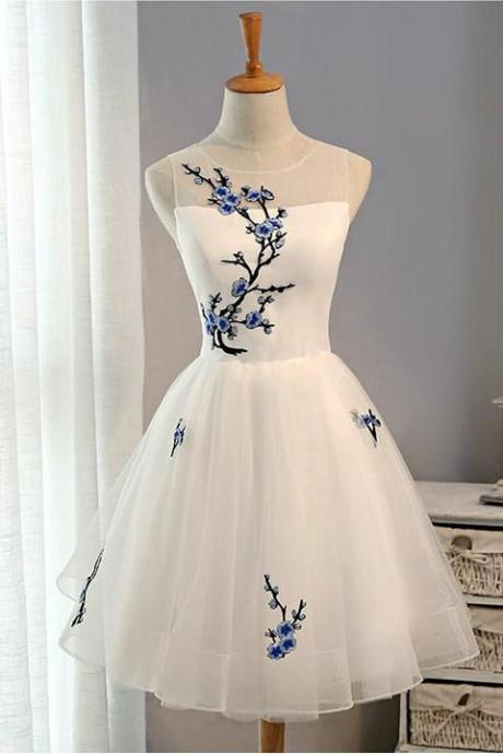 A-line Homecoming Dresses, Plum Blossom Printed Homecoming Dresses,White Homecoming Dresses,Bandage Homecoming Dresses,Short Prom Dresses,Party Dresses