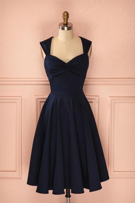 Elegant Homecoming Dresses,A-line Homecoming Dresses,Straps Homecoming Dresses,Navy Blue Homecoming Dresses,Short Prom Dresses,Party Dresses