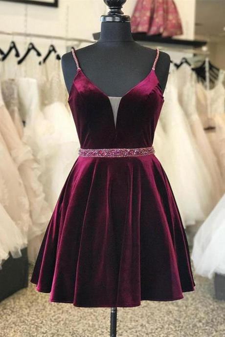 A-line Homecoming Dresses,Burgundy Homecoming Dresses,Beaded Homecoming Dresses,Spaghetti Straps Homecoming Dresses,Short Prom Dresses,Party Dresses