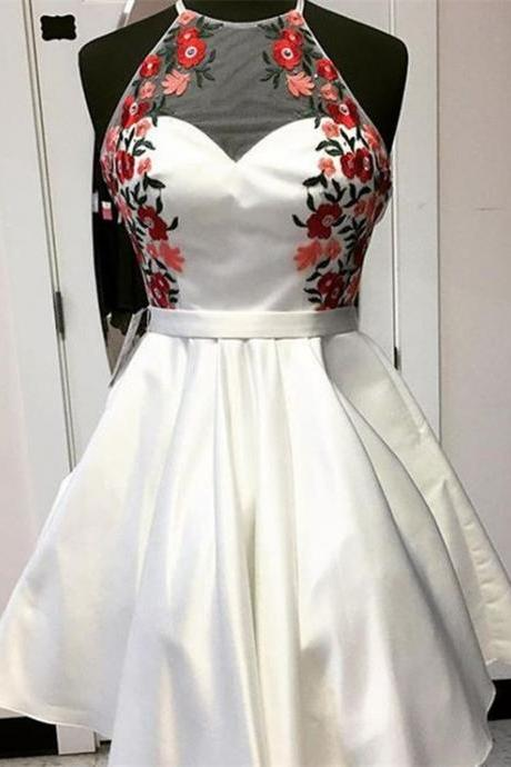 Elegant Homecoming Dresses,A-line Homecoming Dresses,Embroidery Homecoming Dresses,White Homecoming Dresses,Short Prom Dresses,Party Dresses