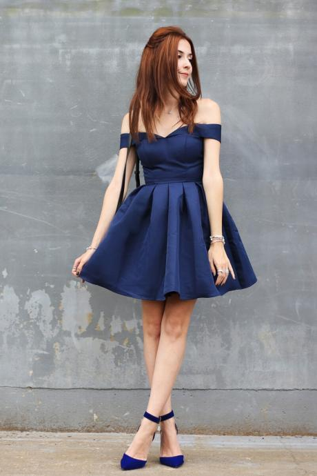 Lovely Homecoming Dresses,A-line Homecoming Dresses,Off Shoulder Homecoming Dresses,Navy Blue Homecoming Dresses,Short Prom Dresses,Party Dresses