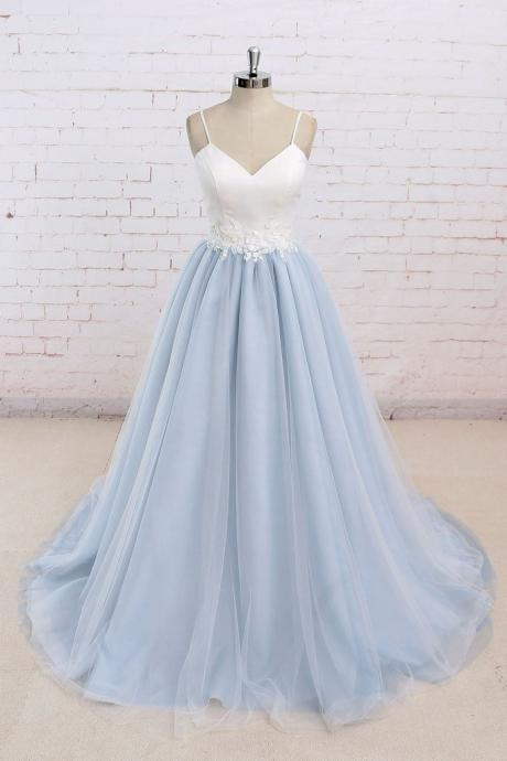 Elegant Long Prom Dresses,Spaghetti Straps Prom Dresses,A-line Prom Dresses,Light Blue Prom Dresses,Backless Prom Dresses,Evening Dresses,Party Dresses