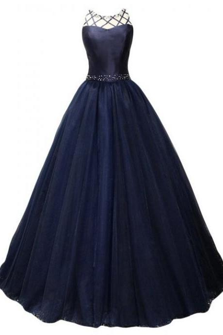 2018 A-line Prom Dresses,Beaded Prom Dresses,Navy Blue Prom Dresses,Backless Prom Dresses,Long Evening Dresses,Party Dresses