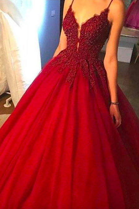 Red Spaghetti Straps Floor Length Prom Ball Gown with Applique#180301