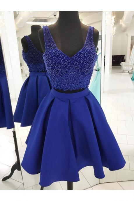 Royal Blue Two Pieces Short Satin Homecoming Dresses #180813