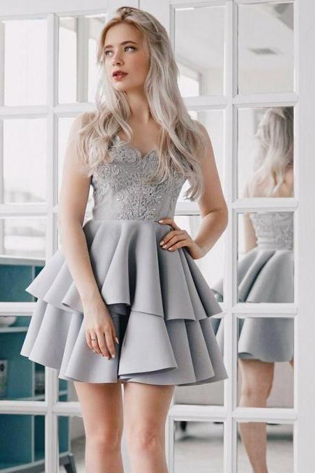 Silver Satin Homecoming Dresses with Spaghetti Straps#180821