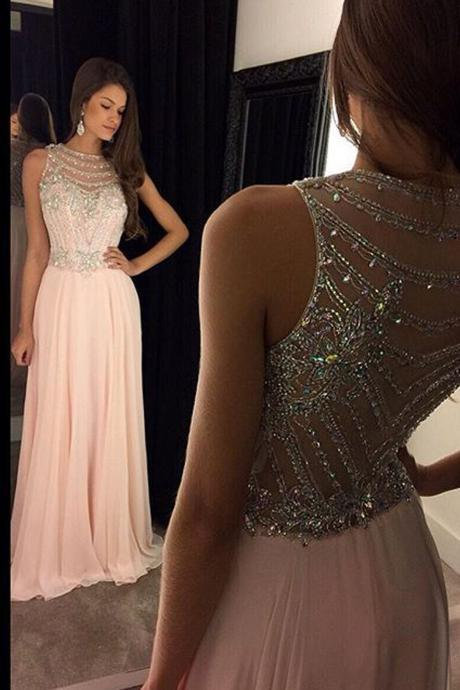 Pink Prom Dress, Long Prom Dress ,Sleeveless Prom Dress ,Beaded Prom Dress , Evening Prom Dress ,Party Prom Dress,Custom Prom Dress