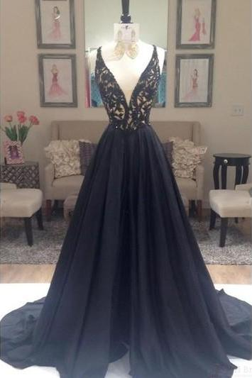Black Prom Dress, Long Prom Dress,A-line Prom Dress,Beaded Prom Dress,Evening Prom Dress ,Party Prom Dress,Custom Prom Dress,Backless Dresses