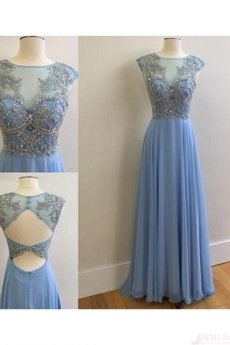 Beaded Prom Dresses,Long Prom Dresses,Elegant Prom Dresses,Backless Prom Dresses,Chiffon Prom Dresse,Evening Dresses,Blue Prom Dresses,Party Dresses ED0960