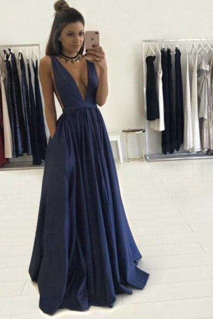 2017 Sexy Prom Dresses,Deep V-neck Prom Dresses,A-line Prom Dresses,Long Navy Prom Dresses,Plus Size Prom Dresses,Evening Dresses