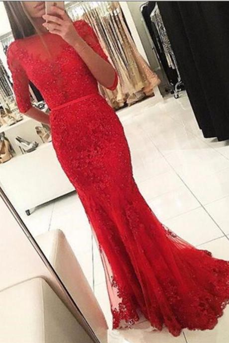 Mermaid Prom Dresses,Lace Appliques Prom Dresses,Red Prom Dresses,1/2 Long Sleeves Prom Dresses,Beaded Prom Dresses,Plus Size Prom Dresses,Evening Dresses,Party Dresses