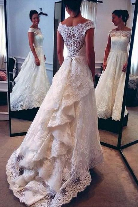 A-line Wedding Dresses,Lace Wedding Dresses,Sweep Train Wedding Dresses,Elegant Bridal Dresses,Cap Sleeves Wedding Dresses