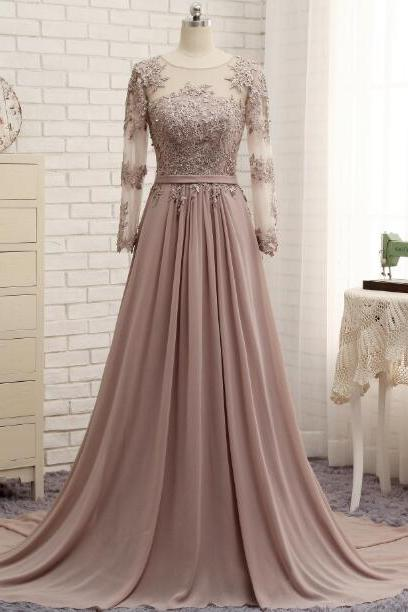 Elegant A-line Prom Dresses,Appliques Prom Dresses,Long Sleeves Prom Dresses,Evening Dresses,Sweep Train Prom Dresses,Party Dresses