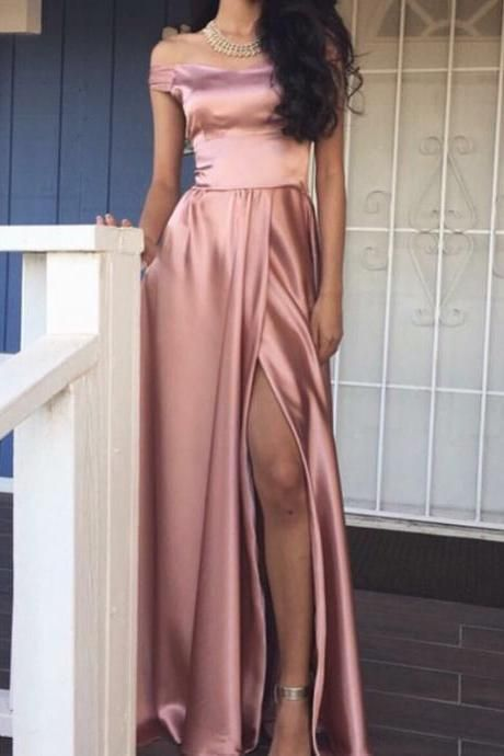 Elegant Off Shoulder Prom Dresses,Pink Prom Dresses,Split Prom Dresses,Long Prom Dresses,Evening Dresses,Party Dresses