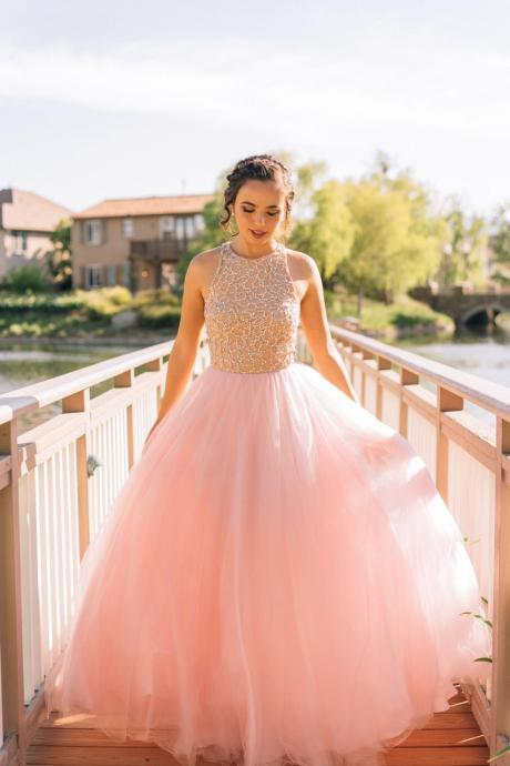 A-line Prom Dresses,Pink Prom Dresses,Beaded Prom Dresses,Tulle Prom Dresses,Formal Evening Dresses,Custom Made Dresses,Party Dresses