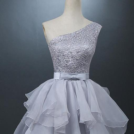 A-line Homecoming Dresses,One Shoulder Homecoming Dresses,Beaded Homecoming Dresses,Light Grey Homecoming Dresses,Short Prom Dresses,Party Dresses