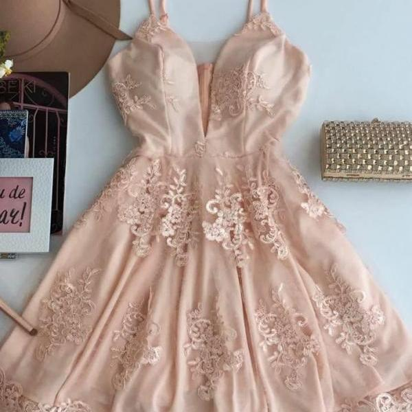 Spaghetti Straps Homecoming Dresses,A-line Homecoming Dresses,Applique Homecoming Dresses,Pink Homecoming Dresses,Short Prom Dresses,Party Dresses