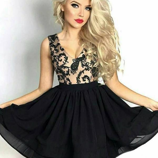 Black V-neck Chiffon Homecoming Dresses with Lace#181009