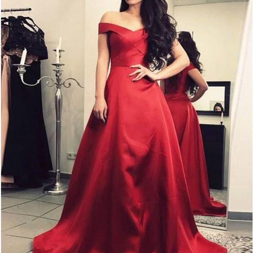 Burgundy Prom Dresses, Off Shoulder Prom Dresses,A Line Evening Dresses,Floor Length Evening Gowns#181020