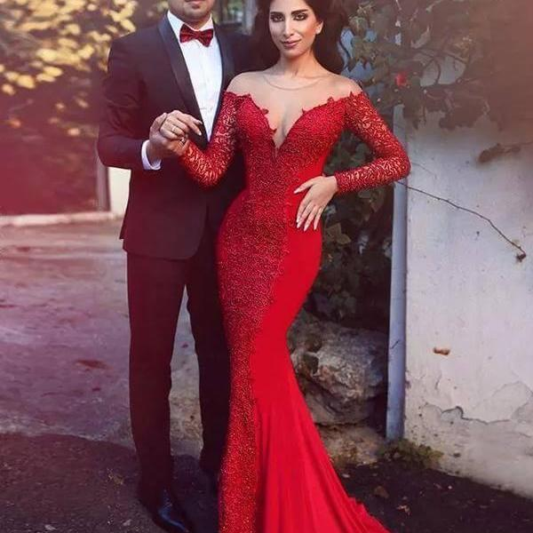 Red Prom Dresses, Mermaid Prom Dresses,Lace Evening Dresses,Floor Length Evening Gowns,Prom Dresses with Long Sleeves#1010010701