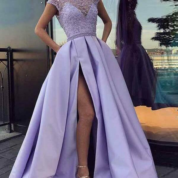 Lavender Prom Dresses,Split Prom Dresses,Satin Prom Dresses ,Floor Length Evening Gowns,Long Prom Dresses with Beadings,Prom Ball Gown #1010010706